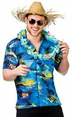 Mens Hawaiian Fancy Dress Shirts With Blue Palm Trees Design Sizes M, L Or XL • 13.49£