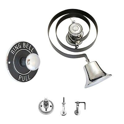 Victorian Butlers Bell Kit C/w Round Chrome Pull, Rope, Chrome Bell & Pulleys  • 84.94£