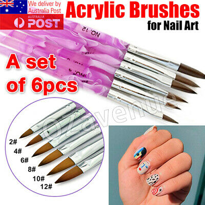 AU10.59 • Buy New 6 X Nail Art Acrylic Brushes In Sizes 2 4 6 8 10 12 Gel Drawing 3082 AUS