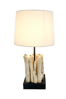 £45 • Buy Handmade Fair Trade Old Solid Drift Wood Table Lamp With Shade 33cm WL-342