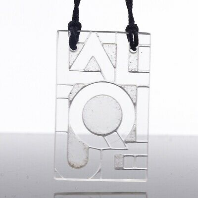 LALIQUE - A Modern Moulded Crystal Glass Logo Pendant Necklace • 75£