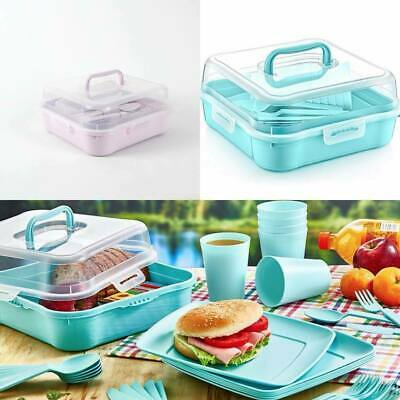 £12.99 • Buy 21 Piece Plastic Picnic Camping Party Dinner Plate Mug Cutlery Set Storage Box