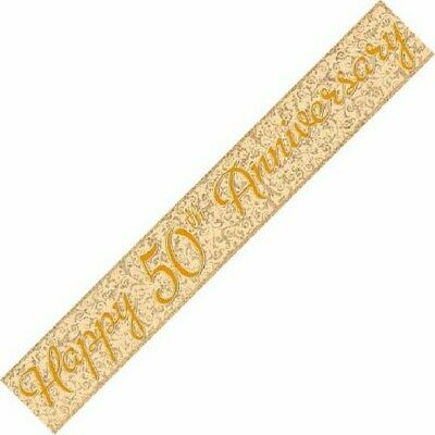 12ft Happy 50th Anniversary Foil Banner Golden Wedding Party Decorations  • 1.99£