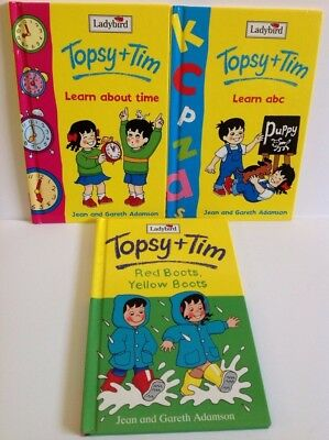Ladybird Topsy & Tim X 3 Learn ABC Learn TIME & Red Boots Yellow Boots 1982-1998 • 6£