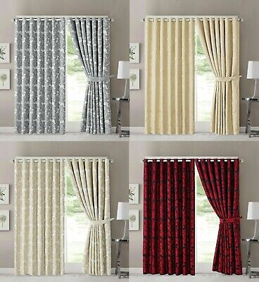 Luxurious Fully Lined Jacquard Eyelet Ring Top Curtains Zarina 66x72 & 90x90 • 29.99£