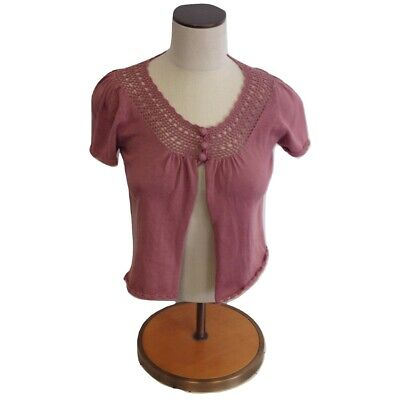 $19.99 • Buy NWT Womens Size Medium LF Stores Millau Rose Pink Crochet Knit Sweater Top
