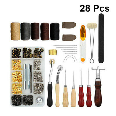 Leather Craft Tool Set 28PC Kit Hand Stitching Sewing Thread Carving Awl Thimble • 12.29£