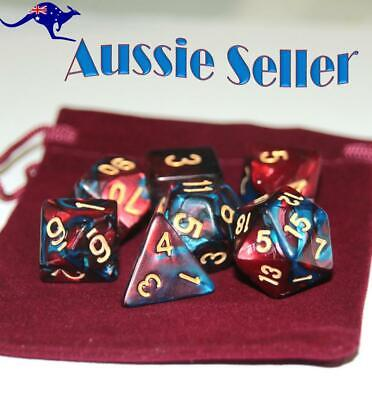 AU10.98 • Buy Dice 7 Pce Set D & D Polyhedral Blue & Red Pearl Pathfinder Dungeons & Dragons