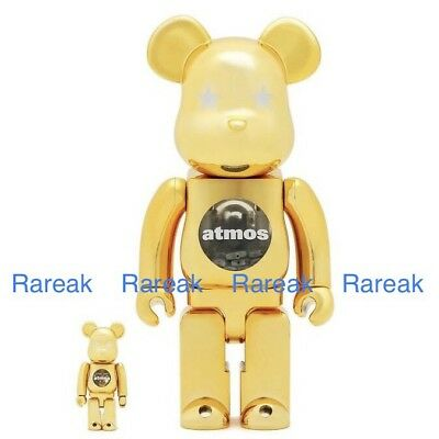 $554.99 • Buy Medicom Bearbrick Atmos 400% & 100% Chrome Gold Stars Be@rbrick Boxset 2pc