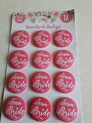 £4 • Buy 12 X Hen Party Badges Team Bride Squad Night Favours Keepsakes Bridesmaids Gift