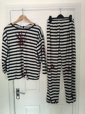 Homemade Mens Zombie Convict Prisoner Halloween Fancy Dress Costume Medium • 5£