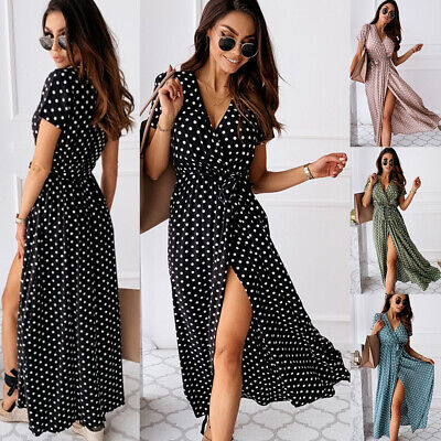 Women Polka Dot Maxi Wrap Dress Ladies Summer Holiday V Neck Party Prom Gown Uk • 13.43£