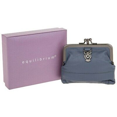 Equilibrium - Soft Leather Double Clip Fastening Grey Purse & Diamante Owl  • 12.99£