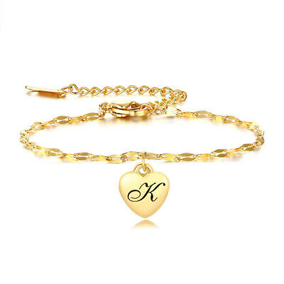 £2.99 • Buy Personalized Initial Heart Charm Tag Women ID Bracelet Alphabet Name Letter Gift
