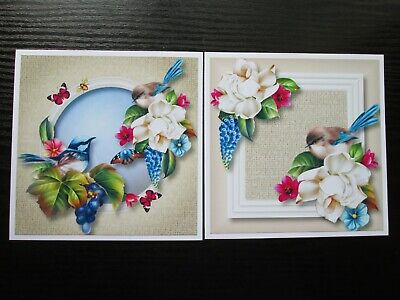 £1.25 • Buy  2 X FAIRY WREN BIRD AMIDST THE FLOWERS Card Toppers & Sentiments
