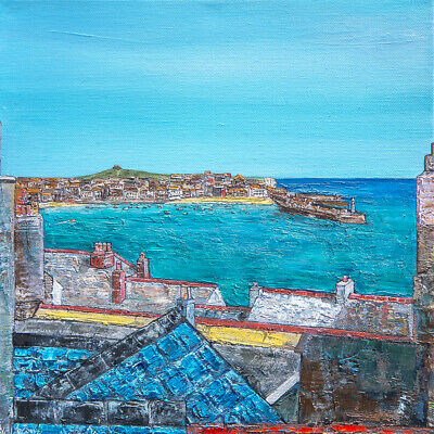 Original Art -  Over The Rooftops St Ives  Cornwall Cornish Painting • 130£
