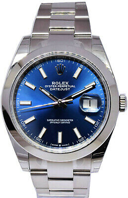 $ CDN12214.79 • Buy NEW Rolex Datejust 41 Steel Blue Index Dial Oyster Bracelet Mens Watch 126300