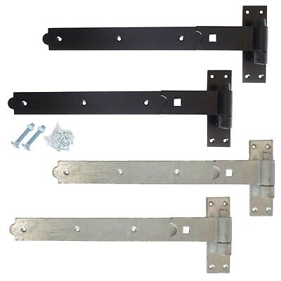 24  600mm Heavy Duty Hook And Band Gate Hinges Garden Shed Galvanised Or Black • 24.83£
