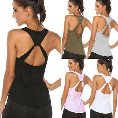 £11.99 • Buy Womens Sexy Backless Yoga Top Vest Gym Workout Tank Top Sports T Shirt Fitness K