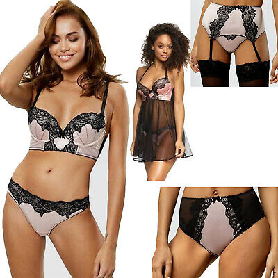 Ann Summers Nude Pink & Black Lace Lingerie Bra Thong Brief Suspender Babydoll • 8.95£
