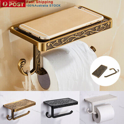 AU22.93 • Buy Toilet Paper Roll Holder Stand Tissue Mounted Bathroom Shelf Black Wall Mounted