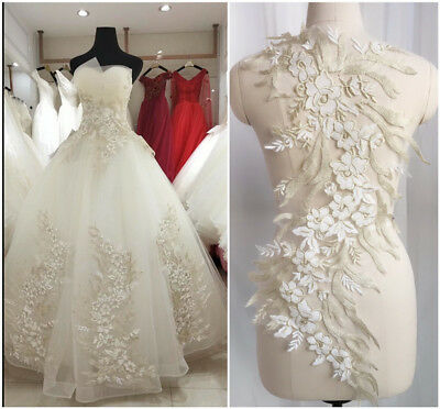 3D Lace Flower Embroidery Bridal Applique Beaded Pearl Tulle DIY Wedding Dress • 9.82£