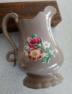 Victorian Stoneware Beige Jug Applied Colourful Flowers, Swan Handled, 20cm Tall • 12.50£