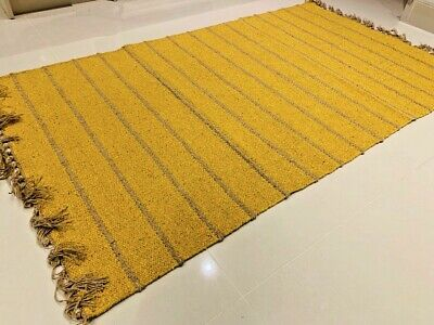 £39.50 • Buy Mustard Yellow Striped Eco Recycled Cotton Rich Jute Handmade Washable Kilim Rug