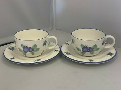 2 X UNUSED Royal Doulton Blueberry Everyday Tea Cups & Saucers - More Available • 6.99£