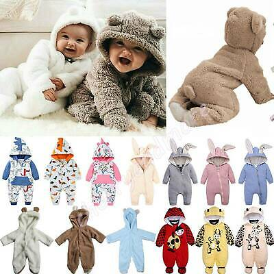 Newborn Baby Boys Girl Hoodie Bodysuit Bear Romper Jumpsuit Fleece Warm Outfits • 8.92£