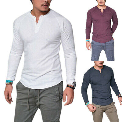 Mens Casual Long Sleeve T-shirt Tops Henley Grandad Collarless Muscle Tee Sizes • 9.30£