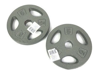 """$ CDN44.47 • Buy Lot Of Two 5lb Iron Weight Plates Pair 1"""" Hole 10lbs Total Workout Weights NEW"""
