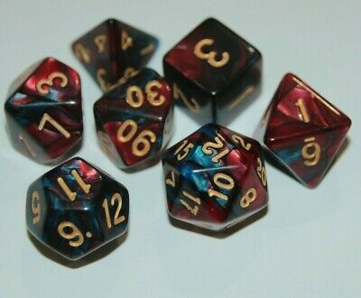 AU10.98 • Buy Dice 7 Piece Set D & D Polyhedral Red & Blue Pearl Pathfinder Dungeons & Dragons