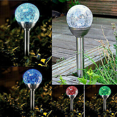 Stainless Steel Solar Powered Colour Changing Led Glass Ball Garden Crack Lights • 11.95£