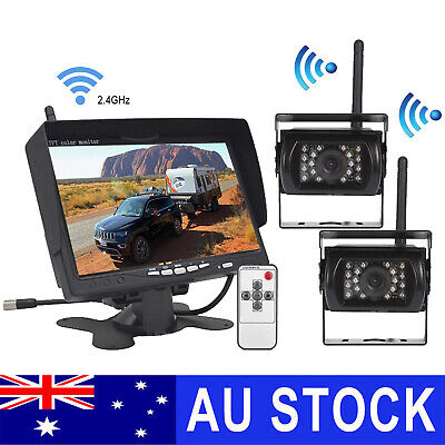 AU129 • Buy 7  Wireless Rear View Kit HD LCD Monitor+Reverse Camera For Truck Caravan VAN RV