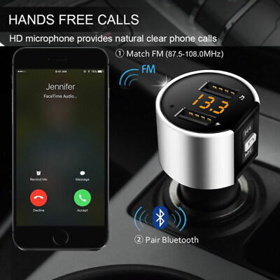 Handsfree Wireless Bluetooth Car Kit FM Transmitter Radio MP3 Player USB Charger • 14.99£