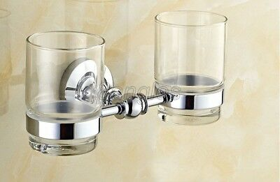 Polished Chrome Wall Mounted Bathroom Toothbrush Holder With Double Cups 8ba807 • 36.99£