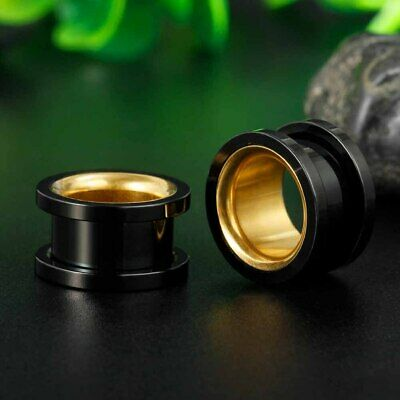 AU6.45 • Buy GOLD INNER BLACK METAL Ear Flesh Tunnels Piercing Stretcher Plug Flared TU204
