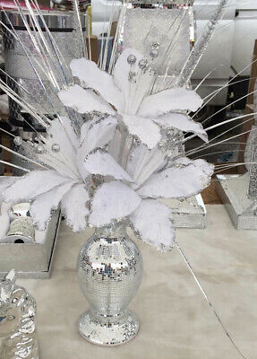 £25 • Buy *LIMITED STOCK Silver Bling Mosaic Mirror Decorated 26cm Vase With White Flowers