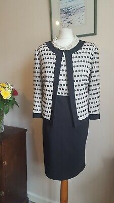 NEW Spotty Formal Dress And Jacket Size 16 James Lakeland Italy Cream Black Work • 85£