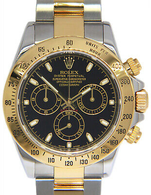 $ CDN19356.77 • Buy Rolex Daytona 18k Yellow Gold & Steel Black Dial Mens 40mm Watch 116523