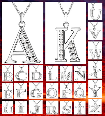 925 Sterling Silver A-Z Letter Alphabet Initial Chain Necklace CZ Crystal Stone  • 3.98£