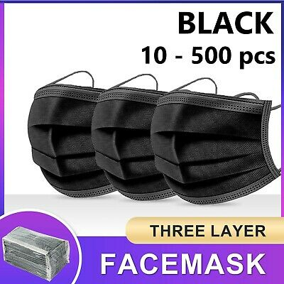 AU16.95 • Buy Black / Blue Face Mask 3 Layer Ply Mouth Masks Anti Bacterial Filter Disposable
