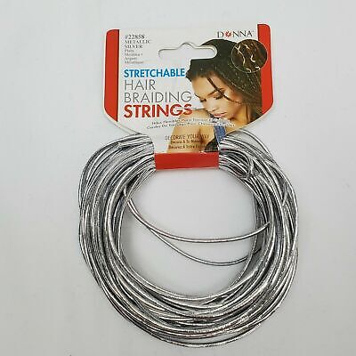 $6.99 • Buy Donna Hair Braiding Strings Metallic Silver Stretchable Braids Accessories
