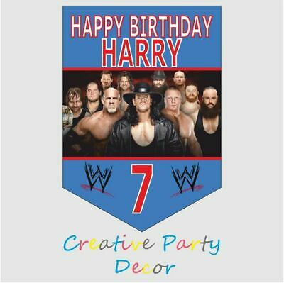 10 Personalised Wwe Wrestling Birthday Bunting Banner Party Decoration Birthday • 3.79£