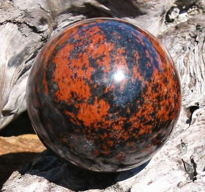 $39.99 • Buy Gorgeous Pattern, Rich Brick Red Against Black, 2.4  MAHOGANY OBSIDIAN SPHERE**