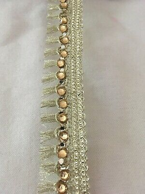 Gold Beaded Lace Trim 25mm Gold Stone Tassel Trim Lampshade Fringe Trim • 1.99£