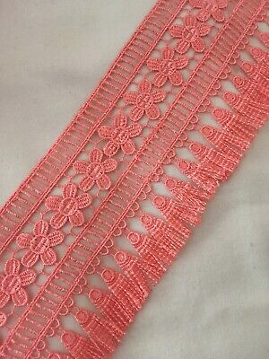 Peach  Tassel Lace Trim Luxury Lampshade SALE 95 Mm 9.5 Cm Fringe Brush Trim • 2.25£