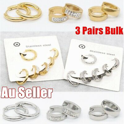 AU9.95 • Buy 3 Pairs Stainless Steel Crystal Hinged Huggie Sleeper Hoop Ear Lip Nose Earrings