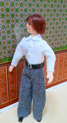 $ CDN18.93 • Buy Dollhouse Miniature Dressed  Porcelain Male Doll In White Long Sleeves Shirt